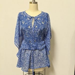 Kenneth Cole Tunic Cover Up Flutter Sleeve Blue S